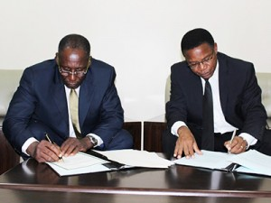 Signing of Seat Agreement 12-03-13 – Ambassador Sani L. Mohammed, Acting Rector of the AIIL and Hon. Bernard K. Membe, Minister for Foreign Affairs and International Co-operation, Dar es Salaam.